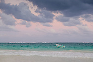 Boat moored in the Caribbean Sea in Tulum, Mexico.