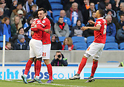 Ademola Lookman opens the scoring during the Sky Bet Championship match between Brighton and Hove Albion and Charlton Athletic at the American Express Community Stadium, Brighton and Hove, England on 5 December 2015.