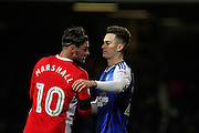 Blackburn Rovers midfielder, Ben Marshall (10) congratulates Ipswich Town forward Tom Lawrence (27) after the EFL Sky Bet Championship match between Ipswich Town and Blackburn Rovers at Portman Road, Ipswich, England on 14 January 2017. Photo by Nigel Cole.