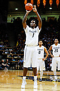 November 24th, 2013:  Colorado Buffaloes redshirt freshman forward Wesley Gordon (1) shoots a free throw in the first half of the NCAA Basketball game between the Harvard Crimson and the University of Colorado Buffaloes at the Coors Events Center in Boulder, Colorado
