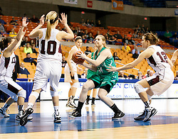 Fayetteville center Kendall Malay (24) drives the lane against Wheeling Central during a first round game at the Charleston Civic Center.