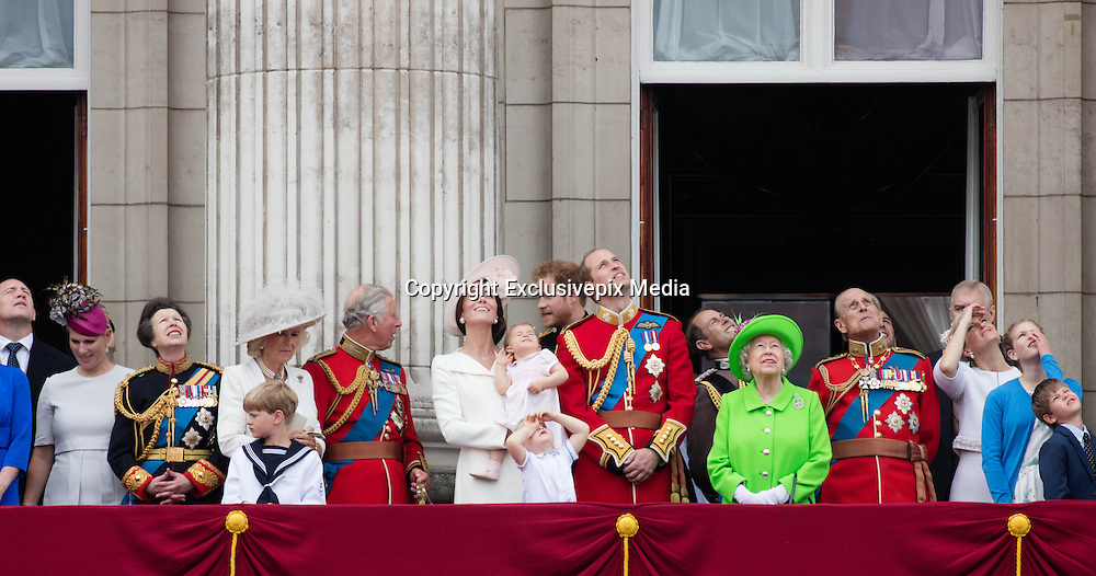 LONDON - UK - 11th June 2016: Members of the British royal family join HM Queen Elizabeth II and HRH The Duke of Edinburgh for the annual Trooping The Colour ceremony in London.<br /> The Queen joined by many members of the family including HRH The Prince of Wales, with HRH The Duchess of Cornwall, The Duke and Duchess of Cambridge, Prince Harry, Prince Edward and HRH The Countess of Wessex, Prince Andrew, Princess Beatrice and Princess Eugenie.<br /> ©Ian Jones/Exclusivepix Media