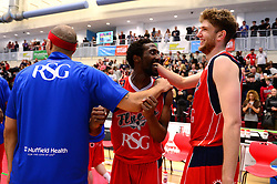 Hameed Ali of Bristol Flyers celebrates at the end of the game with Greg Streete of Bristol Flyers and Michael Vigor of Bristol Flyers - Photo mandatory by-line: Dougie Allward/JMP - 01/04/2017 - BASKETBALL - SGS Wise Arena - Bristol, England - Bristol Flyers v Leeds Force - British Basketball League
