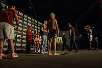 PIETIE COXEN and SIBUSISO MDOKO during EFC Africa 26 Weigh-in, 11 December  2013, The Dome, Johannesburg.