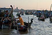 Mekong Delta. Early morning at Cai Rang Floating Market on Can Tho River.