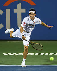 August 1, 2018 - Washington, D.C, U.S - KEI NISHIKORI hits a serve during his 2nd round match at the Citi Open at the Rock Creek Park Tennis Center in Washington, D.C. (Credit Image: © Kyle Gustafson via ZUMA Wire)