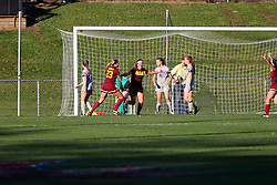 04 November 2016:  Avalon Seen-Raemont celebrates after scoring during an NCAA Missouri Valley Conference (MVC) Championship series women's semi-final soccer game between the Loyola Ramblers and the Evansville Purple Aces on Adelaide Street Field in Normal IL