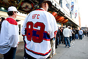 Montreal - 08APR19 - Fans including Wayne Sullivan (L) and Max McNeelands (in jersey) line up for UFC 83 at Montreal's Bell Center. GAZETTE PHOTO BY TIM SNOW