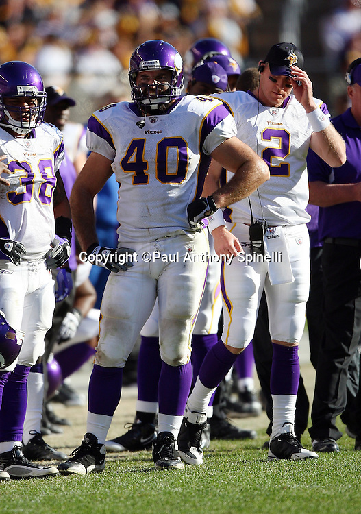 Minnesota Vikings tight end Jim Kleinsasser (40) looks on from the sidelines during the NFL football game against the Pittsburgh Steelers, October 25, 2009 in Pittsburgh, Pennsylvania. The Steelers won the game 27-17. (©Paul Anthony Spinelli)