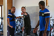Forest Green Rovers Liam Noble(8) and Forest Green Rovers strength and conditioning coach Tom Huelin during the Forest Green Rovers Training session at Browns Sport and Leisure Club, Vilamoura, Portugal on 24 July 2017. Photo by Shane Healey.