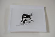 Hubie Gibbs with a toilet on skis, Dangerous Sports Club Ski race. St. Moritz. 1983.