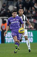 Arturo Vidal Juventus David Pizarro Fiorentina.Torino 9/02/2013 Juventus Stadium.Football Calcio Serie A  2012/13.Juventus vs Fiorentina.Foto Insidefoto Federico Tardito