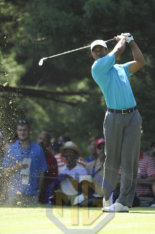 06 July 2007:  Tiger Woods follows his tee shot on the 17th hole in the second round of the inaugural AT&T National PGA event at Congressional Country Club in Bethesda, Md.  ****For Editorial Use Only****