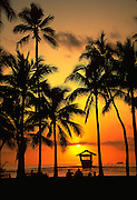 Sunset, Waikiki Beach, Waikiki, Oahu, Hawaii, USA<br />