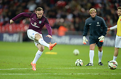 Wayne Rooney of England (Manchester United) warms up prior to kick off. - Photo mandatory by-line: Alex James/JMP - Mobile: 07966 386802 - 15/11/2014 - SPORT - Football - London - Wembley - England v Slovenia - EURO 2016 Qualifier
