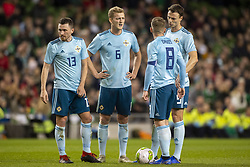 November 15, 2018 - Dublin, Ireland - Northern Ireland players before the free kick during the International Friendly match between Republic of Ireland and Northern Ireland at Aviva Stadium in Dublin, Ireland on November 15, 2018  (Credit Image: © Andrew Surma/NurPhoto via ZUMA Press)