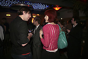 Gavin Morris and Valerie Goad ( Sykes) ,  Book launch for ' What Did I Do last night' by Tom Sykes. Century Club. Shaftesbury Ave. London. 16 January 2006. -DO NOT ARCHIVE-© Copyright Photograph by Dafydd Jones. 248 Clapham Rd. London SW9 0PZ. Tel 0207 820 0771. www.dafjones.com.