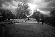 London. United Kingdom,  crews waiting to boat for the 2018 Women's Head of the River Race.  location Barnes Bridge, Championship Course, Putney to Mortlake. River Thames, <br /> <br /> Saturday   10/03/2018<br /> <br /> [Mandatory Credit:Peter SPURRIER Intersport Images]<br /> <br /> Leica Camera AG  M9 Digital Camera  1/360 sec. 50 mm f. 160 ISO.  17.5MB