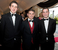 Stephan Doyle, with Niall Keane and Dean Maher Pres Athenry at the Ability West Best Buddy Ball and award night at the Menlo Park Hotel Galway. Photo:Andrew Downes.