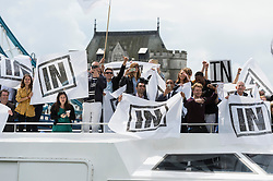 © Licensed to London News Pictures. 15/06/2016. SIR BOB GELDOF supports the Staying_In Europe campaign on the River Thames urging voting in the British EU Referendum.  London, UK. Photo credit: Ray Tang/LNP