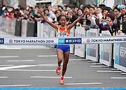 Berhane Dibaba (ETH)  wins the women's race in 2:19:51 in the Tokyo Marathon in Tokyo, Sunday, Feb. 25, 2018. (Jiro Mochizuki/Image of Sport)