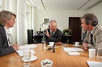 19 AUG 2010, BERLIN/GERMANY:<br /> Birgit marschall, Redakteurin Rheinische Post, Wolfgang Schaeuble, CDU, Bundesfinanzminister, Martin Kessler, Redakteur Rheinische Post, (v.L.n.R.), waehrend einem Interview, in seinem Buero, Bundesministerium der Finanzen<br /> IMAGE: 20100819-01-021<br /> KEYWORDS: Wolfgang Schäuble
