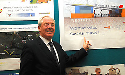Minister Ring pointing the way forward for Westport after the announcement of the town winning a €5million euro investment in Smarter Travel Infrastructure and Initiatives ..Michael Ring T.D, Minister of State at the Department of Transport Tourism and Sport ...Pic Conor McKeown