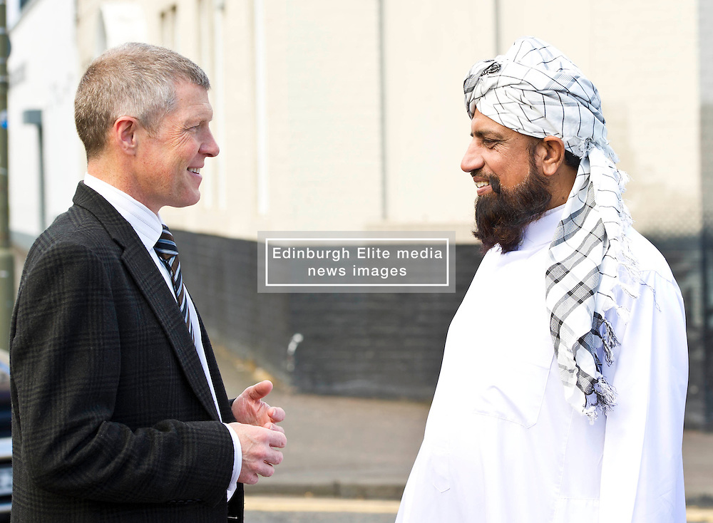 Pictured: Willie Rennie meets Imman Abdulghaffar outside theAnnadale Street Mosque<br /> <br /> Scottish Liberal Democrat  leader Willie Rennie headed to meet up with members of the Annandale Mosque, which has invited Donald Trump to visit while he is in Scotland this week to learn more about Islam.<br /> <br /> (c) Ger Harley   Edinburgh Elite media