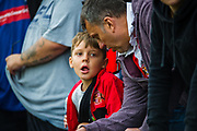 A Sunderland fan before the EFL Sky Bet League 1 match between Rochdale and Sunderland at the Crown Oil Arena, Rochdale, England on 20 August 2019.