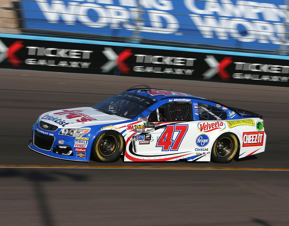 AJ Allmendinger for Sunday's NASCAR Cup Series auto race on Friday, March 17, 2017, in Avondale, Ariz.  (AP Photo/Rick Scuteri)