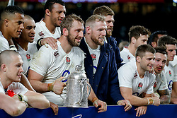 England Captain Chris Robshaw poses with the Calcutta Cup after his side defeat Scotland - Photo mandatory by-line: Rogan Thomson/JMP - 07966 386802 - 14/03/2015 - SPORT - RUGBY UNION - London, England - Twickenham Stadium - England v Scotland - 2015 RBS Six Nations Championship.
