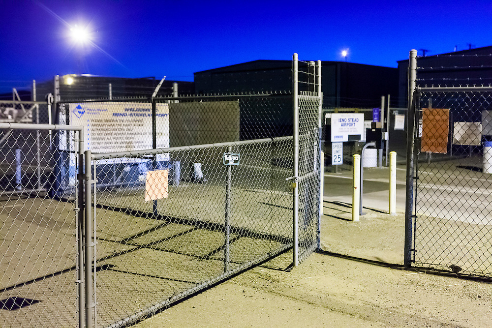 The pedestrian gate used by the media at the 2012 Reno Air Races.  Created at dawn.