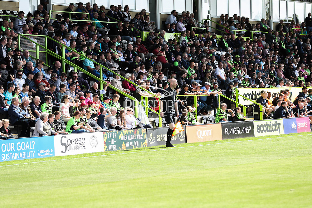 Advertising boards in front of the East Stand during the EFL Sky Bet League 2 match between Forest Green Rovers and Grimsby Town FC at the New Lawn, Forest Green, United Kingdom on 17 August 2019.
