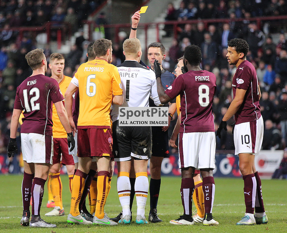 Hearts v Motherwell Scottish Premiership 16 January 2016; Connor Ripley (Motherwell, 1) is shown the yellow card after bringing down Gavin Reilly (Hearts, 20) for a penalty during the Heart of Midlothian v Motherwell Scottish Premiership match played at Tynecastle Stadium, Edinburgh; <br /> <br /> &copy; Chris McCluskie | SportPix.org.uk