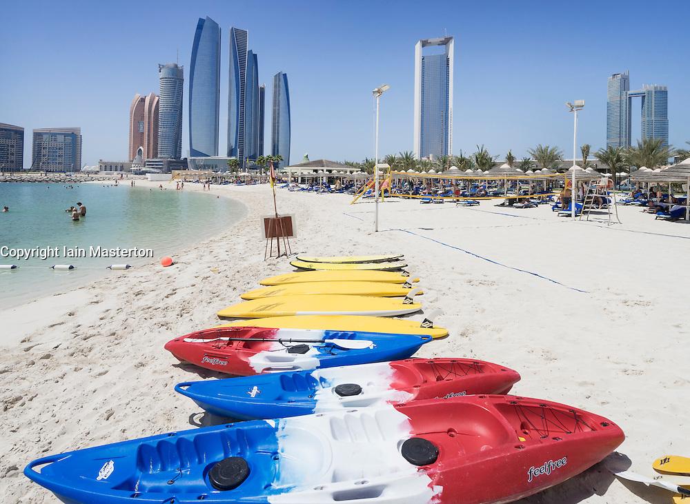 Skyline view of Etihad Towers from luxury hotel beach in Abu Dhabi in United Arab Emirates