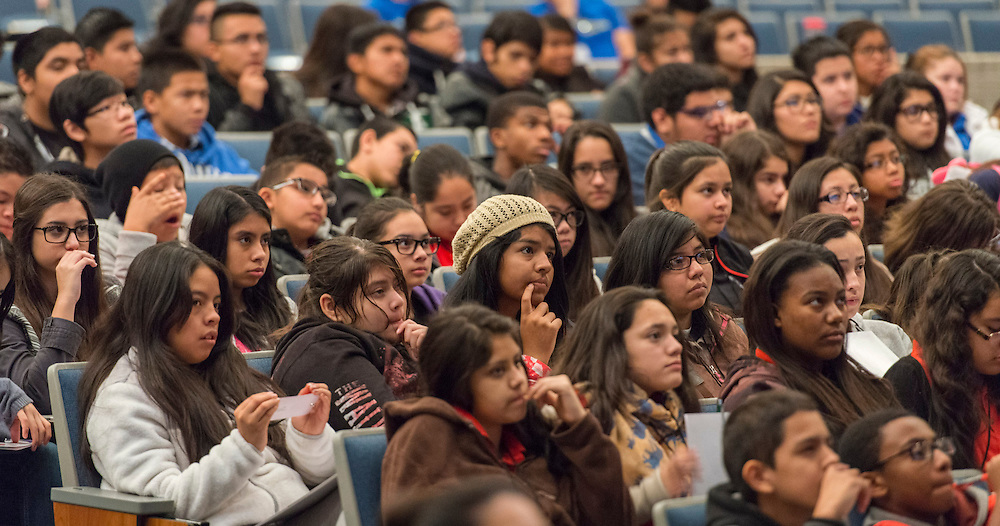 Students listen as former astronaut Bonnie Dunbar comments during a Science, Technology, Engineering and Math (STEM) symposium at Chavez High School, November 15, 2014.