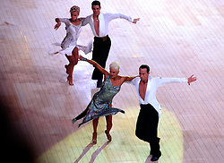 © Licensed to London News Pictures. Winners Britain's Michael Malitowski and Joanna Leunis (front) compete in the Latin section at the British Ballroom dance championships at the Winter Gardens in Blackpool 28-05-2015. The first Blackpool Dance Festival was held  in 1920 now has 60 countries represented with total number of 2,950 couples competing. Photo credit: Nigel Roddis/LNP