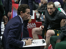 January 16, 2019 - Los Angeles, California, United States of America - Head coach, Quin Snyder of the Utah Jazz talks strategy during their NBA game with the Los Angeles Clippers on Wednesday January 16, 2019 at the Staples Center in Los Angeles, California. Clippers lose to Jazz, 129-109. JAVIER ROJAS/PI (Credit Image: © Prensa Internacional via ZUMA Wire)