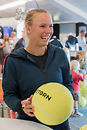 Caroline Wozniacki (Denmark) signing autographs at the 2017 WTA Ericsson Open in Båstad, Sweden, July 26, 2017. Photo Credit: Katja Boll/EVENTMEDIA.