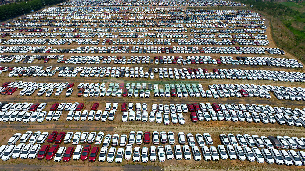 June 15, 2017 - Shenyang, Shenyang, China - Aerial photography of thousands of new cars at a parking lot in Shenyang, northeast China's Liaoning Province. The volume of automobile production reached 2 million in May in China. (Credit Image: © SIPA Asia via ZUMA Wire)