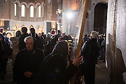 Joint liturgy with Serbian Orthodox and Russian Orthodox patriarchs in Sveti Sava cathedral. Belgrade, Serbia.