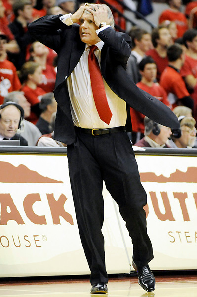 15 January 2008:   University of Maryland Terrapins head coach Gary Williams grabs his head after becoming upset at his teams play late in the 2nd half against the Wake Forest Demon Deacons at the Comcast Center in College Park, MD.  The Maryland Terrapins defeated  the Demon Deacons of Wake Forest University 71-64.