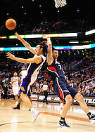 Feb. 15, 2012; Phoenix, AZ, USA; Phoenix Suns guard Steve Nash (13) puts up a shot against the Atlanta Hawks forward Vladimir Radmanovic (77) during the second half at the US Airways Center. The Hawks defeated the Suns 101-99. Mandatory Credit: Jennifer Stewart-US PRESSWIRE..
