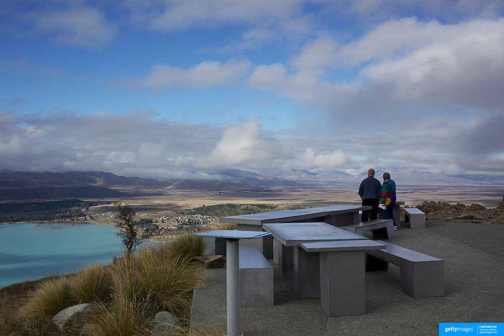 The view from the top of Mount John overlooking Lake Tekapo and Mackenzie Country, South Island, New Zealand. Mount John is also the home of the Mount John University Observatory, Lake Tekapo has one of the most spectacular night skies in the world. 8th June 2011