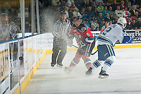 KELOWNA, CANADA - OCTOBER 7: Colten Martin #8 of Kelowna Rockets makes a pass against the Swift Current Broncos  on October 7, 2014 at Prospera Place in Kelowna, British Columbia, Canada.  (Photo by Marissa Baecker/Getty Images)  *** Local Caption *** Colten Martin;