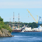 The Oliver Hazard Perry sails on  the Piscataqua River near the Portsmouth Naval Shipyard during the Parade of Sail event, August, 2016.
