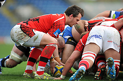Rob Lewis of London Welsh puts the ball into a scrum - Photo mandatory by-line: Patrick Khachfe/JMP - Mobile: 07966 386802 29/03/2015 - SPORT - RUGBY UNION - Oxford - Kassam Stadium - London Welsh v Bath Rugby - Aviva Premiership