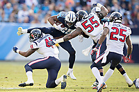 NASHVILLE, TN - DECEMBER 3:  DeMarco Murray #29 of the Tennessee Titans attempts to jump over Zach Cunningham #41 of the Houston Texans at Nissan Stadium on December 3, 2017 in Nashville, Tennessee.  The Titans defeated the Texans 23-14.  (Photo by Wesley Hitt/Getty Images) *** Local Caption *** DeMarco Murray; Zach Cunningham