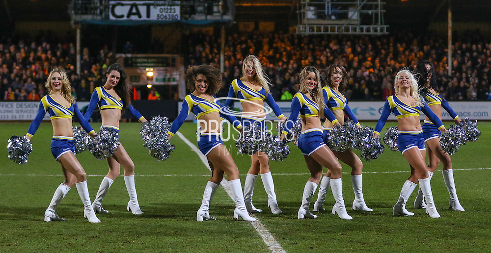 Dancing girls during the The FA Cup match between Cambridge United and Manchester United at the R Costings Abbey Stadium, Cambridge, England on 23 January 2015. Photo by Phil Duncan.