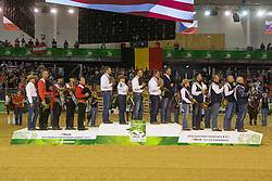 Team USA, Andrea Fappani, Jordan Larson, Mandy Mccutcheon, Shawn Flarida, Team BEL, Piet Mestdagh, Ann Poels, Cira Baeck, Bernard Fonck, Team AUT, Markus Morawitz, Tina Kunstner Mantl, Rudi Kronsteiner, Martin Muhlstatter - Team Competition and 1st individual qualifying  - Alltech FEI World Equestrian Games™ 2014 - Normandy, France.<br /> © Hippo Foto Team - Dirk Caremans<br /> 25/06/14
